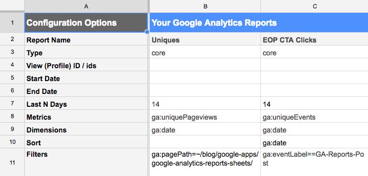 Google Analytics Reports in Sheets